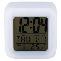 alarm desktop gadget - 2016 LED Colors Changing Digital Alarm Clock Desktop Gadget Digital Alarm Thermometer Night Glowing Electronic clock