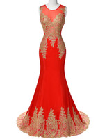 dress blue grace - Prom Dresses Grace Karin Red White Royal Blue Black Mermaid Prom Dresses New Golden Appliques Mermaid Evening Dress
