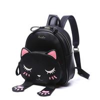 Wholesale Fashion Cat Backpack Black Preppy Style School Backpacks Funny Quality Pu Leather Fashion Women Shoulder Bag Travel Designer BackPacks