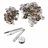 Wholesale 50pcs set mm mm Metal Push Button Snap Fastener Press Stud Buttons For Leather Goods DIY Craft Fixings Tools Kit