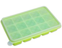 baby food cubes - Silicone Large Ice Cube Tray with Lid Flexible Baby Food Storage Container Freezer Trays Reusable BPA Free