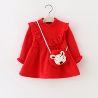 Wholesale CXT33 Lolita style girls Kids Spring Autumn Girl Dress bust with stringy selvedge Dress girl kids Long Sleeve fashion dress with dog bag