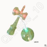 Wholesale 500pcs CCA3707 High Quality Candy Color Intelligence Toys Flash Light Skill Japan Ball Skill Sword Ball Jade Sword Plastic LED Kendama Ball