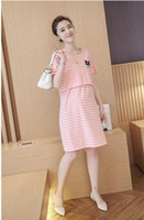 Wholesale Maternity fashion summer new cotton striped dress pregnant lactating out