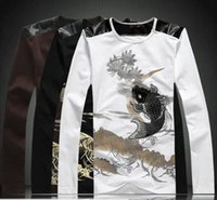 art embroidery designs - Men s Casual Slim Fitted Cotton Long Sleeve T Shirt Japan Ukiyoe Tattoo Art Design Fish Carp Embroidery Print Tops Tee Shirts High Quality