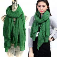 Wholesale 180 cm Solid Color Winter Scarf Women Hijab Green Shawls And Scarves Ladies Wraps Scarf Female