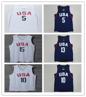 Wholesale Player USA Dream Team Jersey White Basketball Jerseys Men Sports wear embroidered Logos Cheap sports shirts