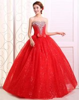 Lace wedding dress bright red