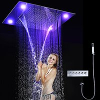 bath shower systems - luxury led shower system embeded ceiling multifunctional shower mixer bath set with rainfall waterfall mist spray curtain