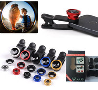 Wholesale 3 in Universal Clip Fish Eye Wide Angle Macro Phone Fisheye glass camera Lens For iPhone Samsung Cheap Price with package
