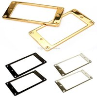 Wholesale 2pcs Gold Plated Metal Flat Humbucker Pickup Mounting Ring for Guitar White E00378 SMAD