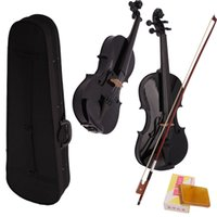Wholesale New Student Basswood Full Size Acoustic Violin Case Bow Rosin Black