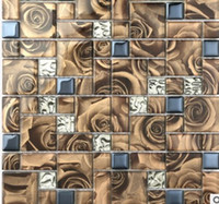 Wholesale Coffee color crystal glass mosaic tile mirror TV background wall cashier door decoration D