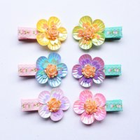 bb designs - 2016 NEW pc Floral Design Plastic Baby Hair Clip Cute Five Leaves Flower Headwear Kids Colorful BB hairpin Baby Girls Hair Barrette
