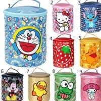 Wholesale Cartoon Round barrel Lunch box bag Animal Print Lunch Box KT Rubber Duck Relax Bear Vigny Portable Lunch Bag LJJP05