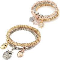 animal bangles - Fashion Jewelry bracelets pieces set three colour elastic crystal Bar Setting women bangle Owl heart Charm For bracelet jewelry Making