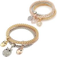 al por mayor colores búho-pulseras de joyería de moda conjunto 3 piezas de tres colores de barra de cristal elástica Ajuste brazalete de las mujeres del encanto del corazón del búho para la pulsera la fabricación de joyas