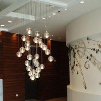 art deco shower - LLFA100 G4 LED Crystal Glass Ball Pendant Lamp Meteor Rain Ceiling Light Meteoric Shower Stair Bar Droplight Chandelier Lighting