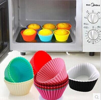 Wholesale A set of Candy Color Silicone Cake Baking Moulds Muffin Cup Cake Moulds Non toxic Tasteless Non stick Bakeware Cupcakes LJJH303 SET