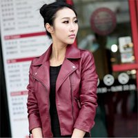 Wholesale 2016 Autumn Fashion Classic New Arrive Women Pu Leather Jackets Zipper Slim Short Outwear Turn Collar Motorcycle Coat Black Red Size S XL