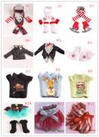 accessories skirts - 2016 Hot Sell Cristmas Shelf Winter Set Boots Tartan Skirt Boots Satin Tiered Skirt Elf Clothes Doll Accessories styles