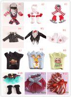 Wholesale Cotton Skirt Winter - 2016 Hot Sell Cristmas Shelf Winter Set & Boots Tartan Skirt & Boots Satin Tiered Skirt Elf Clothes Doll Accessories 12 styles