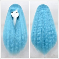big drag wigs - Woman Big Long Wig Sky Blue Perms Curls Afro Fluffy Pastel Drag Queen Wigs