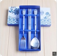 Wholesale Creative stainless steel tableware suite business advertising promotional gifts gifts blue and white porcelain three piece