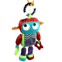 android plush toys - 32cm Baby Soft Plush Toy Crib Bed Stroller Hanging Robot Cute Android Teether Rattle Ring Bell Doll