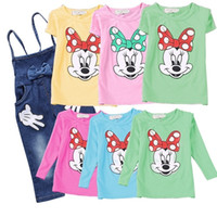 Wholesale PrettyBaby Baby Girls Minnie Mouse suit Summer cotton Kids sets T Shirt Jeans Overalls Girl Children Clothing Set