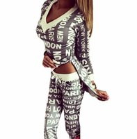 Wholesale 2016 Women s Sports Letter Print Sweatsuit Hoodie Suit Cotton Tenue V neck Beauty Femme