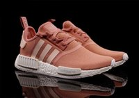 Wholesale kids Women NMD classic pink NMD R1 Primeknit PK Runner orange Womens Sports Running Athletic Shoes Sneakers S76006 with box and receipt