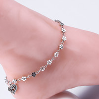 beads for feet - 2016 New Retro Beach Tibetan silver anklets for women Unique Sexy Simple Beads Silver Chain Anklet Ankle Foot Jewelry