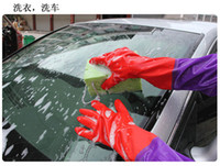 Wholesale Soft Brushed Fabric Inner Lined Arms Length Rubber Car Water Resistant Nonslip Palm Protective Gloves