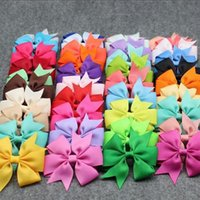 Wholesale 80 Colors Baby Grosgrain Ribbon Bows WITH Clip Girls Boutique PinWheel Hair Clip Kids Hair Accessories