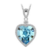 Wholesale Heart Shape Crystals from Swaroski Pendant Necklace Silver Color Copper Chain Mix Color Crystal Pendant For Lover Xuping Jewelry Pendant
