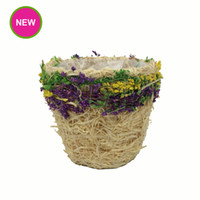 Wholesale PlantPot Garden Tapered Shape Straw flower Pots Colorful Stained Planter With Waterproof Plastic Bag Inside Pot Product Code A