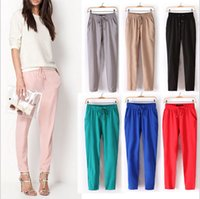 Wholesale 2016 spring and summer in Europe and America super bright color drape comfortable elastic waist chiffon harem pants casual pants