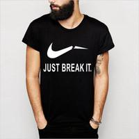 Wholesale Just Break It Print Men T shirt Fashion Casual Funny Shirt For Man White Black Top Tee Harajuku Hipster Street