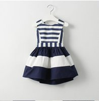 baby fashion trends - Summer new stripe splice soft cozy cotton spandex baby girl dress age2T T fashion elegant charm trend BH2336
