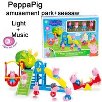 plastic playground - Zorn Peppa Pink Pig toys cartoon Plastic Page Pig doll Playground seesaw Play house toys Light Music for the children Christmas Gifts