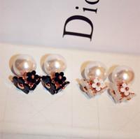 Wholesale Fashion faux pearl flower wearing top double dual high quality zinc alloy earrings