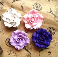 Cheap 30pcs 45mm mix color Fancy fimo polymer Clay handmade Rose Decoden Cabochon