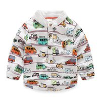 arrival buses - ZY29NEW ARRIVAL sthand collar Long Sleeve cartoon bus print boys Kids shirts child clothes outerwear boy casual top shirts free ship