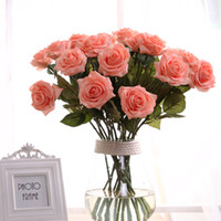 Wholesale 9 colors Artificial Rose Silk Craft Flowers Real Touch Flowers Elegant Rose Bouquets for Bridal Wedding Bouquet Decoration Flowers ELF006
