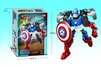 Wholesale The Avengers Super Hero Captain America Assembling block Environmental Friendly Plastic Building Blocks Childrens Day Gift Educational Toy