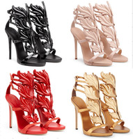 Cheap Desinger Women Summer gold winged Sandals Ankle Strap Shoes High Heel Gold Leave Women Party Shoes