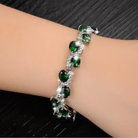 bar in singapore - Fashion Classical Red Crystal Stone Women Bracelet New Designer Charm Link Chain Bracelets Jewelry In White Gold Plated