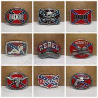 Wholesale Fashion belts Confederate Southern South Rebel Flag Civil Flag Belt Buckles Civil War Flag Lebel Belt Buckles Dixie Flag Buckles LJJH1410