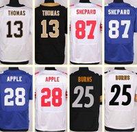 apple football - Men s Thomas Sterling Shepard Eli Apple Artie Burns Black White Blue Draft Jerseys Top Quality
